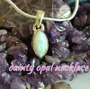 Dainty Opal Necklace Sterling Silver